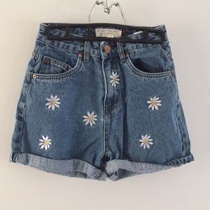 High Waisted Denim Shorts with Daisies
